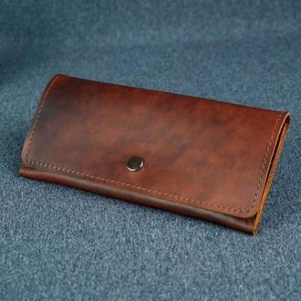 Женский кожаный кошелек Флай, кожа итальянский краст, цвет вишня