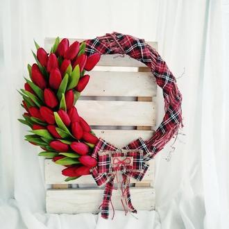 Весенний венок на стену, декоративный венок с тюльпанами, летний венок, венок на дверь весенний