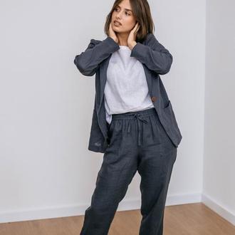 Льняные брюки на резинке. Брюки графитового цвета. Льняные женские брюки.