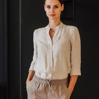 Бежевая рубашка со скошенной стойкой. Женская льняная рубашка