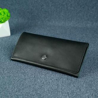Женский кожаный кошелек Флай, кожа итальянский краст, цвет черный