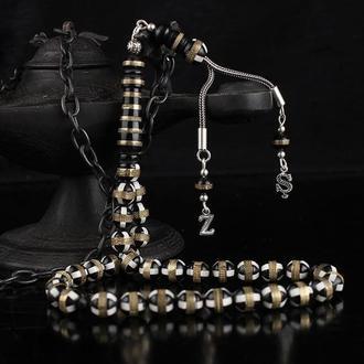 Четки из серебра с буквами инициалами серебряными ручной работы на кисточках 925 пробы дизайнерские