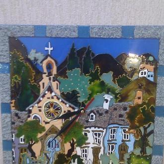 """Часы-картина с витражной росписью  """"Кривые домишки"""""""