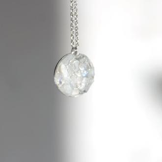 Прозора підвіска з адуляром - різні розміри - лунный камень - прозрачный кулон