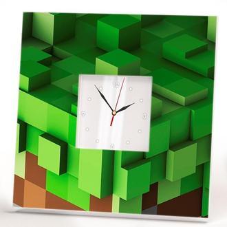 """Стильні настінні годинники в дитячу """"Майнкрафт Minecraft"""""""