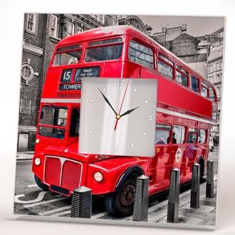 """Часы настенные с зеркалом """"Даблдеккер Лондон"""""""