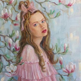 Картина маслом девушка весна купить киев украина