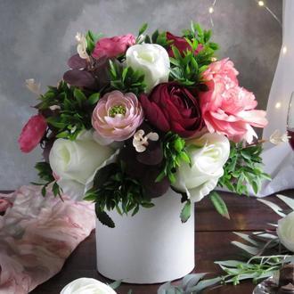 """Букет """"Бордо с белым"""". Подарок для женщин. Подарок на 8 марта"""
