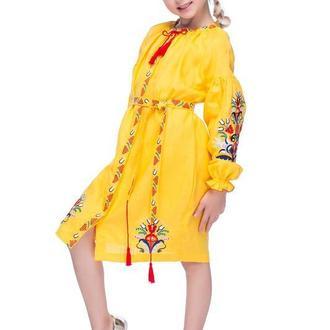 Сукня для дівчинки Сона (льон жовтий)