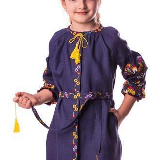 Сукня для дівчинки Яскраві півники (льон синій)