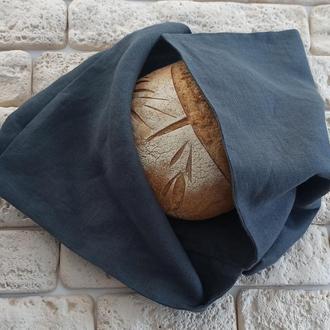 Хлебница из льна, экомешочек для хранения хлеба,экохлебница,мешочек для хлеба,вымытый черный цвет