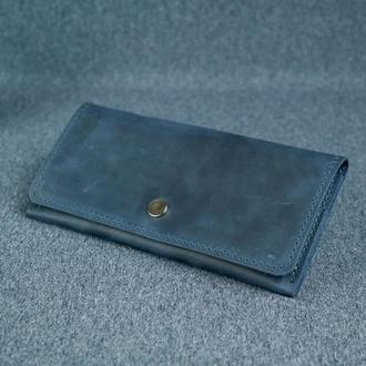 Женский кожаный кошелек Флай, винтажная кожа, цвет синий
