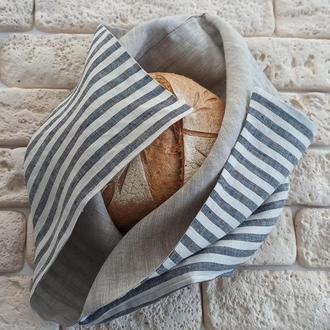 Хлебница из льна, экомешочек для хранения хлеба,экохлебница,мешочек для хлеба,полосатый лен