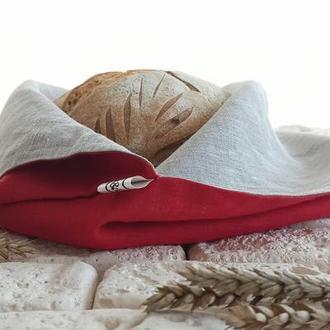 Хлебница из льна, экомешочек для хранения хлеба,экохлебница,мешочек для хлеба,красный лен