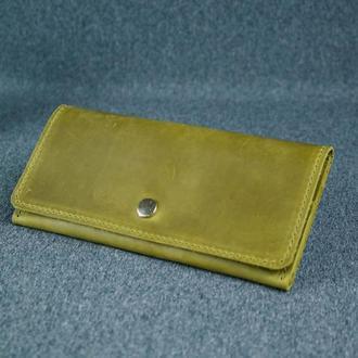 Женский кожаный кошелек Флай, винтажная кожа, цвет фисташка