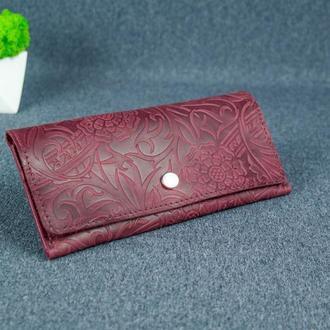 Женский кожаный кошелек Флай, винтажная кожа, оттиск №3, цвет бордо