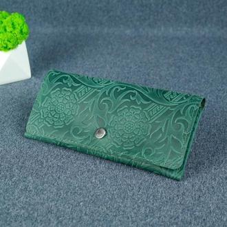 Женский кожаный кошелек Флай, винтажная кожа, оттиск №3, цвет зеленый