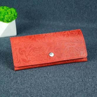 Женский кожаный кошелек Флай, винтажная кожа, оттиск №3, цвет красный
