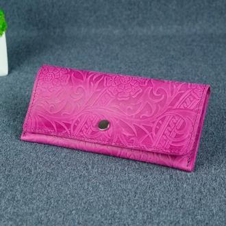 Женский кожаный кошелек Флай, винтажная кожа, оттиск №3, цвет фуксия