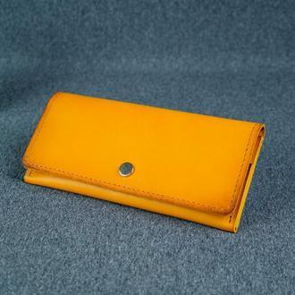Женский кожаный кошелек Флай, кожа итальянский краст, цвет янтарь