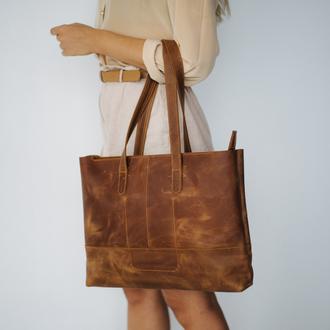 Универсальная и практичная сумка шоппер из натуральной кожи с винтажным эффектом