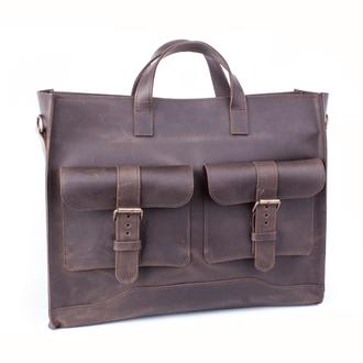 Большая сумка ручной работы коричневого цвета из натуральной кожи с винтажным эффектом