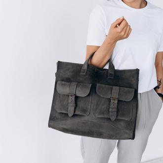 Женская сумка большого размера темно-серого цвета из натуральной кожи с плечевым ремнем