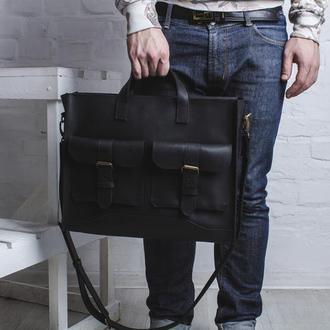 Мужская сумка из натуральной кожи для ноутбука или документов, деловая кожаная сумка