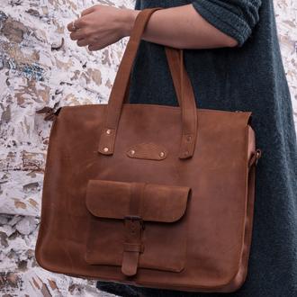 Вместительная женская сумка большого размера из натуральной кожи с эффектом винтажа