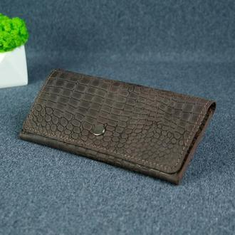 Женский кожаный кошелек Флай, винтажная кожа, оттиск №1, цвет шоколад