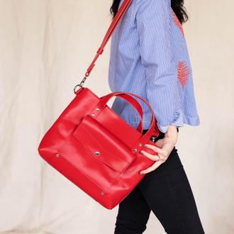 Классическая вместительная женская сумка ручной работы из натуральной кожи с глянцевым эффектом
