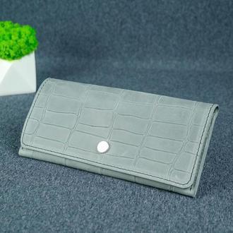 Женский кожаный кошелек Флай, винтажная кожа, оттиск №2, цвет серый