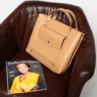 Ділова жіноча сумка бежевого кольору