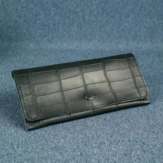Женский кожаный кошелек Флай, кожа итальянский краст, оттиск №2, цвет черный