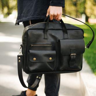 Мужская деловая кожаная сумка черного цвета, функциональная мужская сумка из натуральной кожи