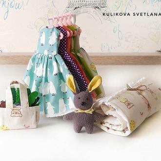 Платья для Барби, постель, сумка с продуктами, зайчик