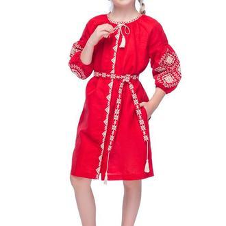 Сукня для дівчинки Іванна (льон червоний)