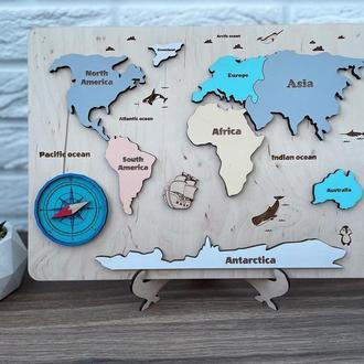 Карта світу, карта пазл, Розвиваюча гра для дитини, Пазли для дітей, дерев'яні пазли