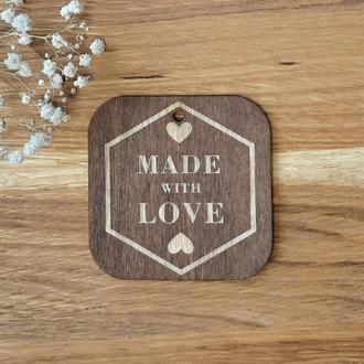 """Бирки для подарков """"Made with love"""" 10 шт. размер S 35х35 мм."""
