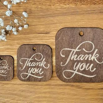 "Бирки для подарков ""Thank you"" 10 шт. размер M 50х50 мм."