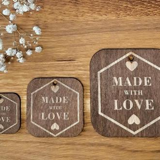 """Бирки для подарков """"Made with love"""" 10 шт. размер M 50х50 мм."""