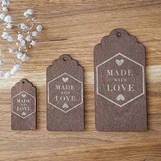 """Бирки для подарков """"Made with love"""" 10 шт. размер M 75х37 мм."""