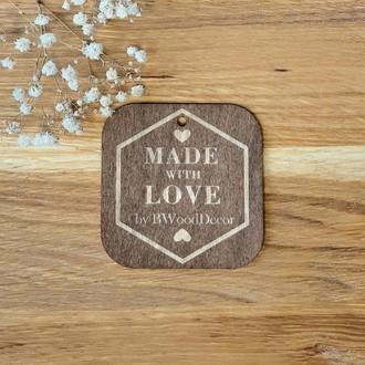 "Бирки для подарков ""Made with love"" 10 шт. размер L 75х75 мм. (дерево)"