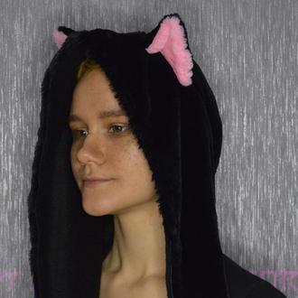 Меховой капор, капюшон, шапка с ушками кошки
