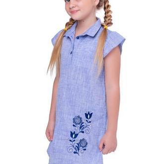 Сукня для дівчинки Агнія (льон блакитний)