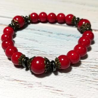 Браслет Коралловый Айя натуральный камень, цвет красный и его оттенки \ Sb - 0044