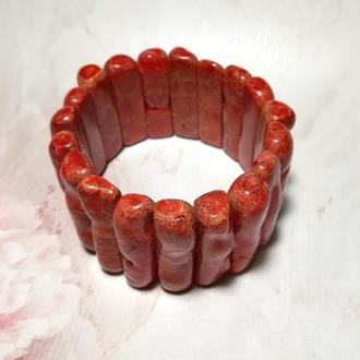 Браслет из веточек Коралла натуральный камень, цвет красный и его оттенки \ Sb - 0007