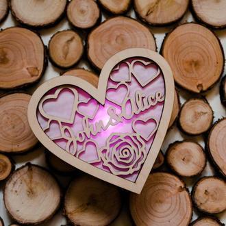 Валентинка из дерева с подсветкой