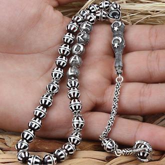 Розарий мисбаха из серебра ручной работы уникальные серебряные четки именные ручной работы