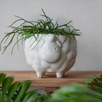 Керамічний горщик для рослин Вівця біла, розмір L